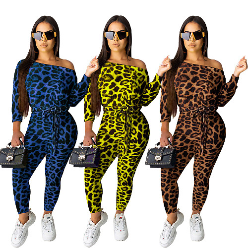 Women Leopard Printed Skinny Long Sleeve Club Jumpsuits KD-6043