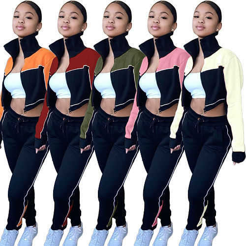 Fashion Stitching Color High-necked Top Pants Fitness Suit OJS-9252