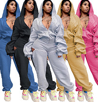Trendy Solid Color Zip-up Hooded Top Loose Pants Set LQ-5893