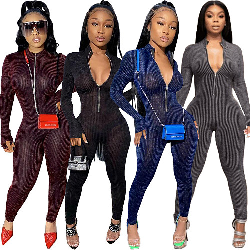 Sexy Color Line See-through Long Sleeve Bodycon Jumpsuit FNN-8548