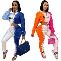 Contrast Color Print Long Sleeve Crop Top Sweatpants Outfit LSL-6393