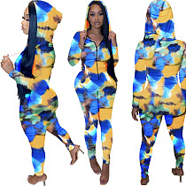 Abstract Print Zipper Hooded Jacket Skinny Pants Outfit FNN-8529