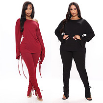 Hot Style Solid Long Sleeve Blouse Skinny Pants 2 Piece Set LSL-6394