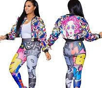 Anime Cartoon Girl Print Zipper Long Sleeve Jacket KY-3037