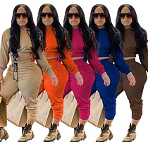 Cropped Hoodies Elastic Waist Jogger Pants Solid Tracksuits OYF-8232
