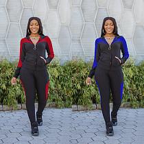 Women Colorblock Zipper Hooded Coat Top Pants Sweat Suits MN-9278