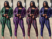Lip Print Long Sleeve Jacket Leggings Two-piece Outfit KDN-1226