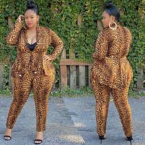 Leopard Print Flounces Long Sleeve Top Pant 2 Piece Set OMF-211