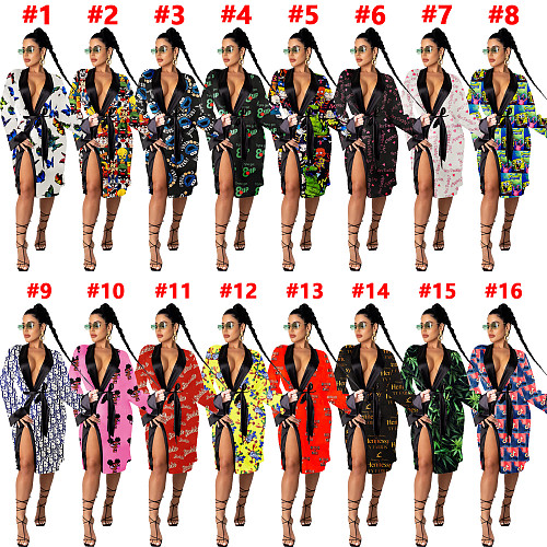 Print Women Sexy Long Sleeve Loose Pajamas Dress Coat SHD-9452