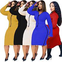 Women Solid Long Sleeve Zipper Top Midi Skirt Two Piece Set MEM-8309
