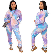 Tie dye Print Slim Hoodies Long Pants Two Piece Outfits MIL-184