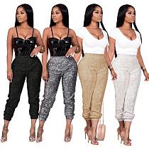 Women Streetwear Sequin Shiny Spliced Mid Waist Skinny Pants CM-800