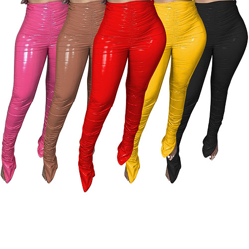 Winter Mid Waist Stretchy Tights PU Leather Stacked Pants BS-1237
