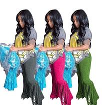 Fashion Fringe Mid Waist Bodycon Women Flared Trousers YM-9253