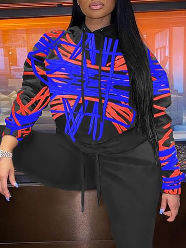 Streetwear Women'S Print Hooded Long Sleeve Loose Sweatshirt TB-5229