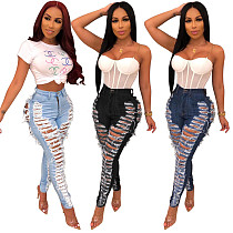 Women High Waist Washed Ripped Skinny Denim Jeans HSF-2080