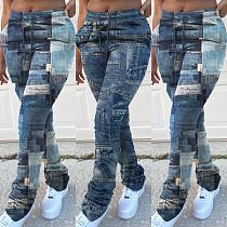 Imitation Denim Printed High Stretch High Waist Stacked Pants YFS-3618