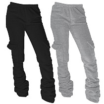 Thickened Hoodie Fabric Side Pockets Stacked Pants SY-9060
