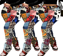 Autumn Color Pattern Printed Mid-waist Streetwear Pants SHA-6210