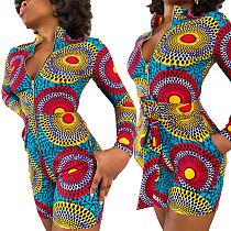 Women Pattern-printed Long Sleeve Front Zipper Skinny Romper ML-7405
