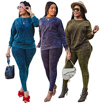 Plus-size Long Sleeves Round Neck T-shirts Pants Casual Outfits HEJ-6037