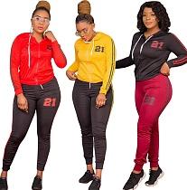 Fashion Print Long Sleeve Zipper Jacket Pants Two-piece Outfit OSS-20938