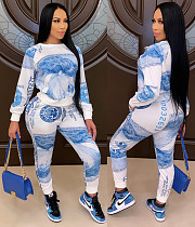 Dollar Print Long Sleeve Loose T-shirt Pants Two Piece Outfit SC-874