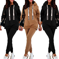 Autumn Warm Long Sleeve Hooded Sweatshirt Jogger Pants Suit OMY-8093