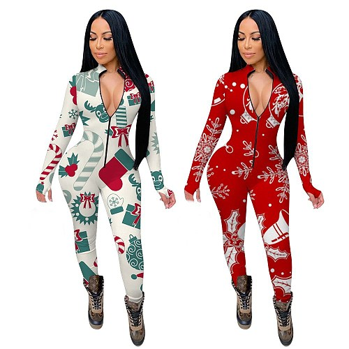 Christmas Print Long Sleeve Front Zipper Bodycon Jumpsuit YMT-6189