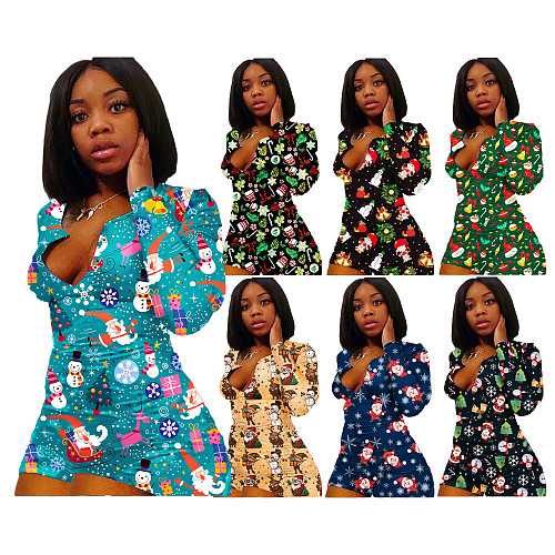 Christmas Print V Neck Long Sleeve Bodycon Pajamas Sleepwear HGL-1563