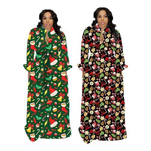 Women Christmas Tree Print Long Sleeve Elegant Maxi Dress HGL-1565