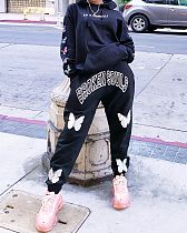 Autumn Women Butterfly Print Oversized Hoodie Pants 2 Pieces KY-3041