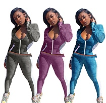 Women Low-cut Long Sleeve Crop Top Skinny Pants 2 Piece Set LJ-6036