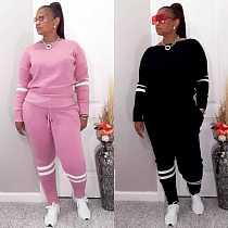 Women Stitching Long Sleeve T-shirt Tops Sweatpants 2pcs Outfits WM-926