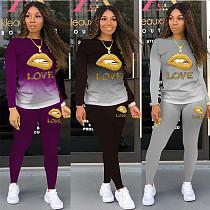 Love Letter Lip Print Long SLeeve T-shirt Leggings Matching Set SHA-6211