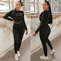 Letter Printed Long Sleeve Crop Top Pants Fitness Bodycon Outfit LIN-5517