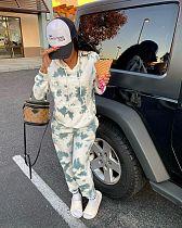 Tie-dye Long Sleeve Hooded Pullover Top+Pants Two Piece Set MLS-3518