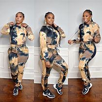 Women Tie-dye Printed Drawstring Hoodie Sweatpants 2 Piece Set OYF-8236