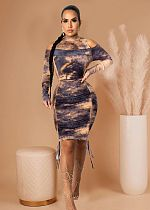 Fall Print Pleated Off-the-shoulder Long Sleeves Bodycon Dresses YJ-8365