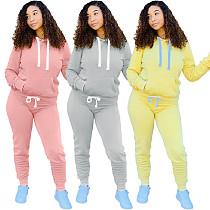 Thickened Long Sleeve Hoodie Sweatshirt+Pants 2 Piece Set SHUN-8053
