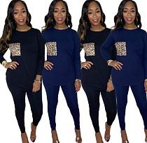 Women's Leopard Collage Long Sleeve T-shirt Skinny Pants Suit QZX-6182