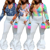 Tie-dyed Long Sleeve T-shirt Bell-bottom Pants Two-piece Set BER-8045