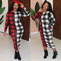 Fashion Plaid Printed Patchwork Mid-lenth Long-sleeve Dresses SHE-7233