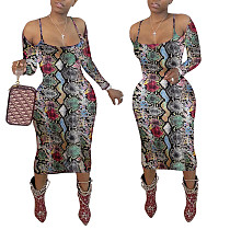 2020 Autumn Serpentine Off The Shoulder Sexy Club Midi Dress LSD-9005