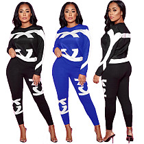 Casual Printed Long Sleeve T-shirt Skinny Pants Two-piece Set LM-8212