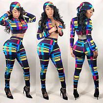 Hot Style Contrast Print Zip Crop Top+Pants+Headscarf 3 Pieces LSL-6185