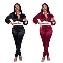 Women Zipper Crop Tops Pencil Pants Sportswear 2 Piece Sets PIN-8547