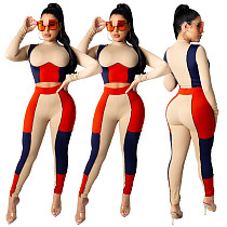 Color Block Stitching Long Sleeve Crop Top Bodycon Pants Outfit YS-8787