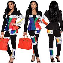 Winter Women's Print Full Sleeve Blazers Pants Suit Two Piece Set BLX-7548