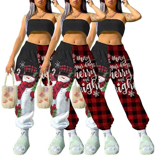 2020 Women Christmas Printing Mid-waist Baggy Sweatpants SMY-8062